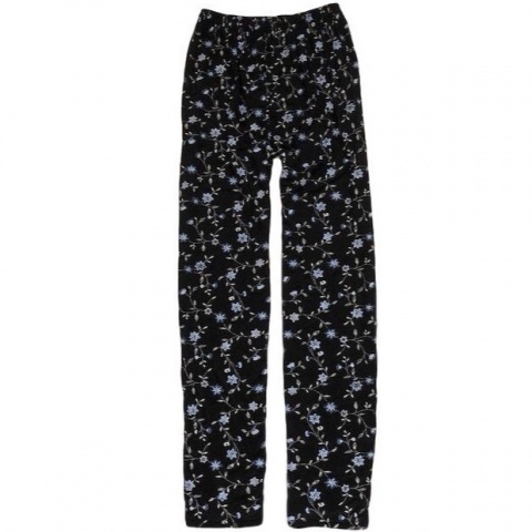 LV Black Trousers with Blue Flower Pattern