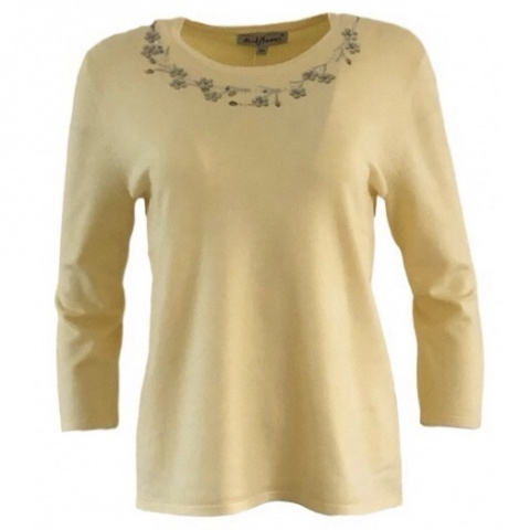 Mudflower Lemon Diamante Round Neck Jumper