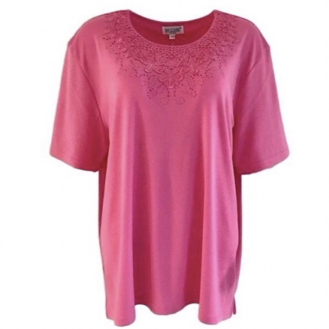 Fay Louise Cerise Plus Size T-Shirt With Flower & Stud Design