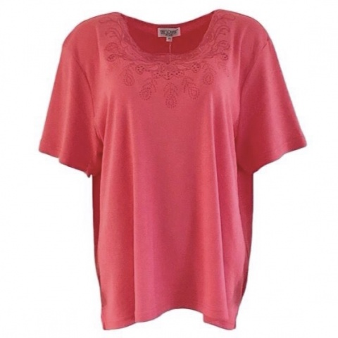 Fay Louise Coral Plus Size Stud Detail T-Shirt