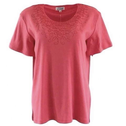 Fay Louise Coral T-Shirt With Flower & Stud Design