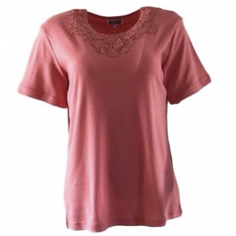 Fay Louise Coral T-Shirt With Flower Bead Design