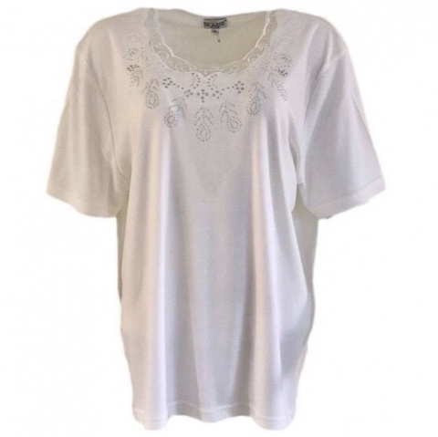 Fay Louise Cream Plus Size Stud Detail T-Shirt