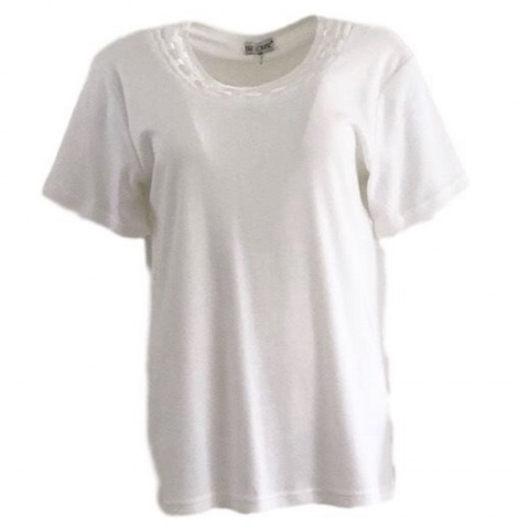 Fay Louise Cream T-Shirt With Satin Design Neckline