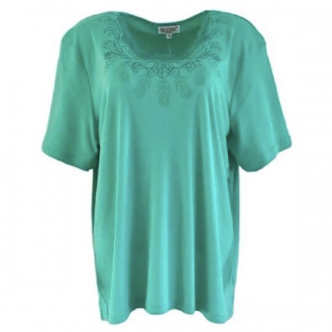 Fay Louise Green Plus Size Stud Detail T-Shirt