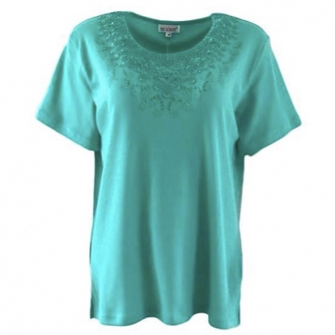 Fay Louise Mint Plus Size T-Shirt With Flower & Stud Design
