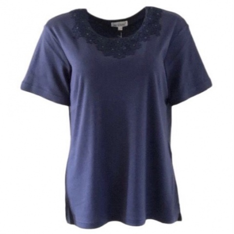 Fay Louise Navy T-Shirt With Flower Bead Design