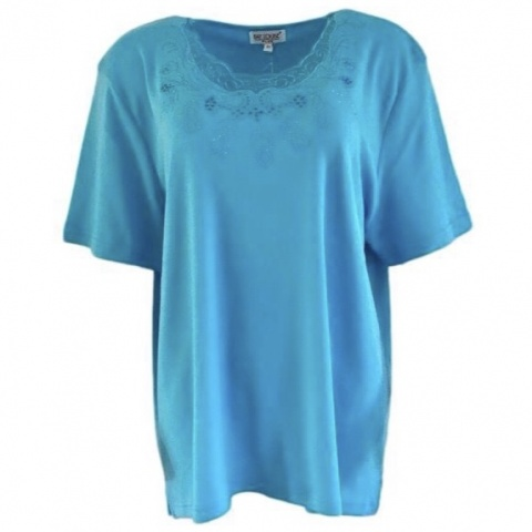 Fay Louise Turquoise Plus Size Stud Detail T-Shirt