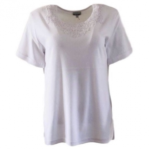 Fay Louise White T-Shirt With Flower Bead Design
