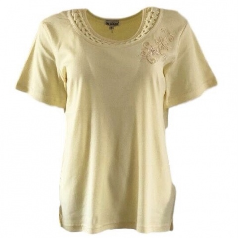 Fay Louise Yellow T-Shirt With Beaded Flower Design