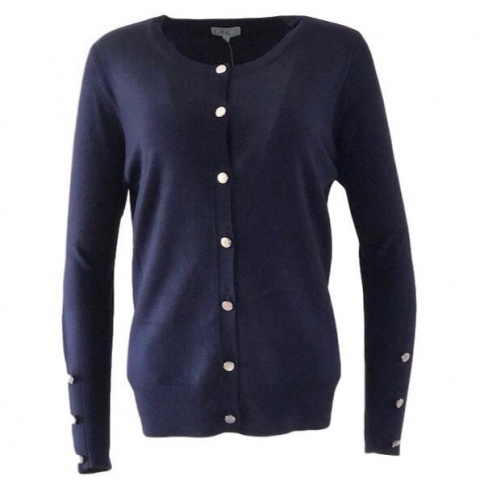 Text Navy  Button Cardigan