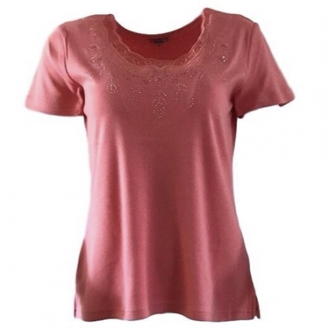 Text Coral Stud Detail T-Shirt