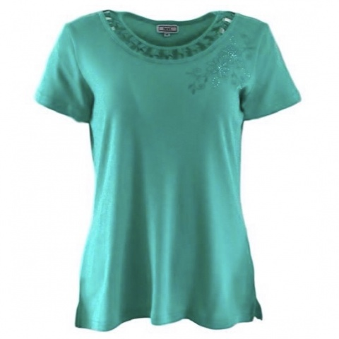 Text Green  T-Shirt with Flower Design