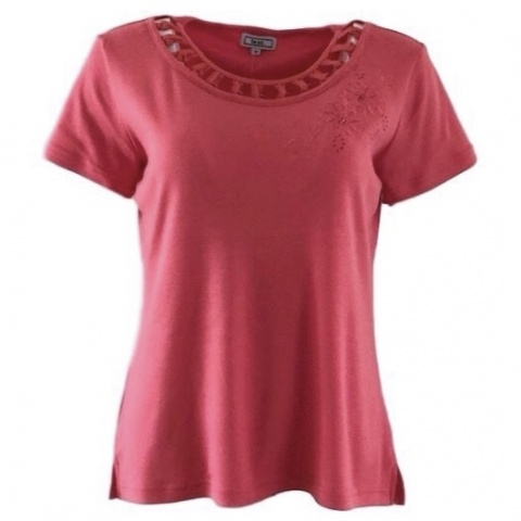 Text Coral T-Shirt with Flower Design